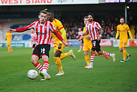 Lincoln City's Harry Toffolo crosses for Harry Anderson goal<br /> <br /> Photographer Andrew Vaughan/CameraSport<br /> <br /> Emirates FA Cup First Round - Lincoln City v Northampton Town - Saturday 10th November 2018 - Sincil Bank - Lincoln<br />  <br /> World Copyright &copy; 2018 CameraSport. All rights reserved. 43 Linden Ave. Countesthorpe. Leicester. England. LE8 5PG - Tel: +44 (0) 116 277 4147 - admin@camerasport.com - www.camerasport.com