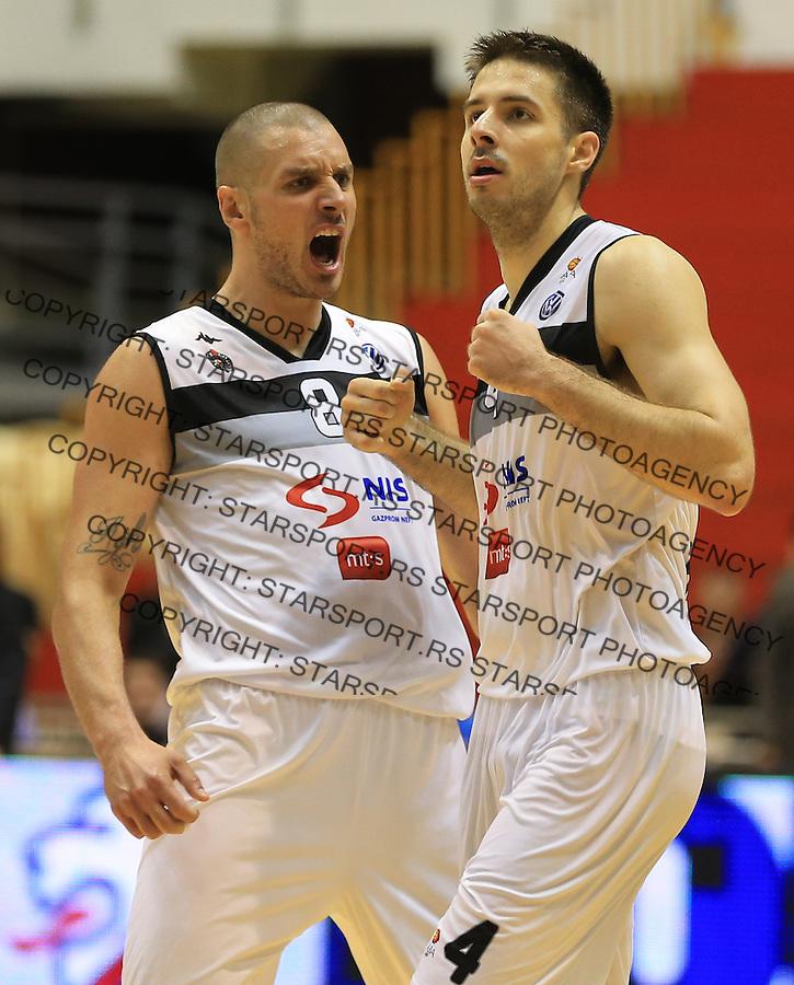 Kosarka play off final game 3<br /> Partizan v Crvena Zvezda<br /> Aleksandar Pavlovic (L) and Milenko Tepic celebrate<br /> Belgrade, 06.16.2014.<br /> foto: Srdjan Stevanovic/Starsportphoto &copy;