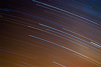 Star Trails in the Night Sky Over Mt. Shasta from Panther Meadow, Shasta-Trinity National Forest, California, US