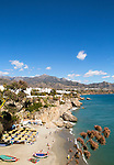Playa Calahonda sandy beach at popular holiday resort town of Nerja, Malaga province, Spain