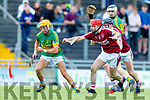 John Griffin Lixnaw in action against Keith Carmody Causeway during the Kerry County Hurling final between Causeway and Lixnaw at Austin Stack park on Sunday