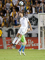 CARSON, CA – NOVEMBER 7:  LA Galaxy defender Omar Gonzalez (4) during a soccer match at the Home Depot Center, November 7, 2010 in Carson, California. Final score LA Galaxy 2, Seattle Sounders 1.
