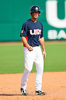 Andrew Garcia #2 of the United States World Cup/Pan Am Team takes his lead off of second base against Team Canada at the USA Baseball National Training Center on September 29, 2011 in Cary, North Carolina.  (Brian Westerholt / Four Seam Images)