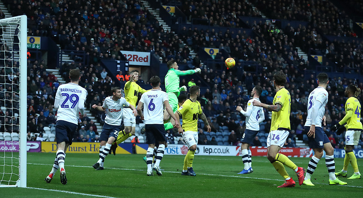 Preston North End's Declan Rudd defends an attempt at goal<br /> <br /> Photographer Rachel Holborn/CameraSport<br /> <br /> The EFL Sky Bet Championship - Preston North End v Blackburn Rovers - Saturday 24th November 2018 - Deepdale Stadium - Preston<br /> <br /> World Copyright © 2018 CameraSport. All rights reserved. 43 Linden Ave. Countesthorpe. Leicester. England. LE8 5PG - Tel: +44 (0) 116 277 4147 - admin@camerasport.com - www.camerasport.com