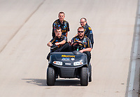 Jun 9, 2019; Topeka, KS, USA; Crew members for NHRA top fuel driver Austin Prock during the Heartland Nationals at Heartland Motorsports Park. Mandatory Credit: Mark J. Rebilas-USA TODAY Sports