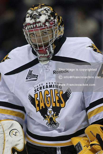 QMJHL (LHJMQ) hockey profile photo on Cape Breton Screaming Eagles David Honzik November 11, 2012 at the Colisee Pepsi in Quebec city.