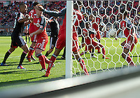 05 May 2012: Toronto FC midfielder Reggie Lambe #19 appears to put his hand on the ball during an MLS game between DC United and Toronto FC at BMO Field in Toronto..D.C. United won 2-0.