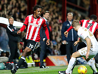 Romaine Sawyers of Brentford in action during the Sky Bet Championship match between Brentford and Leeds United at Griffin Park, London, England on 4 November 2017. Photo by Carlton Myrie.