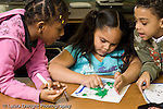 Education Elementary school Grade 2 science special group of two girls and a boy discussing their geographic maps project horizontal