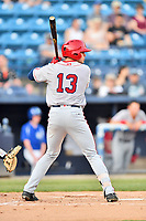 Hagerstown Suns right fielder Jacob Rhinesmith (13) awaits a pitch during a game against the Asheville Tourists at McCormick Field on April 30, 2019 in Asheville, North Carolina. The Tourists defeated the Suns 5-4. (Tony Farlow/Four Seam Images)