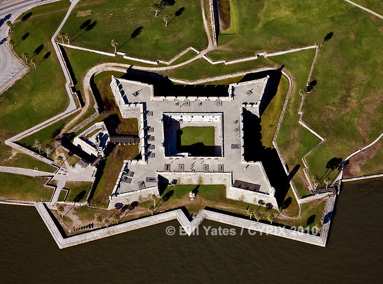 Castillo de San Marcos, St. Augustine, Florida - helicopter aerial