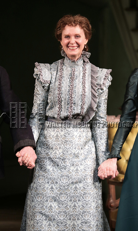 Cynthia Nixon during the Broadway Opening Night Curtain Call bows for 'The Little Foxes' at Samuel J. Friedman Theatre on April 19, 2017 in New York City.