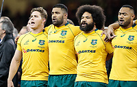 Australia's Michael Hooper sings the national anthem<br /> <br /> Photographer Simon King/CameraSport<br /> <br /> International Rugby Union - 2017 Under Armour Series Autumn Internationals - Wales v Australia - Saturday 11th November 2017 - Principality Stadium - Cardiff<br /> <br /> World Copyright &copy; 2017 CameraSport. All rights reserved. 43 Linden Ave. Countesthorpe. Leicester. England. LE8 5PG - Tel: +44 (0) 116 277 4147 - admin@camerasport.com - www.camerasport.com