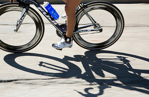 01 JUN 2013 - MADRID, ESP - A competitor makes their  way around the Casa de Campo cycle course in Madrid, Spain during the WTP Agemaster race (PHOTO (C) 2013 NIGEL FARROW)