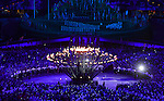 LONDON, ENGLAND - JULY 27:  General view of the Olympic Flame lighting during the Opening Ceremonies as part of the London 2012 Olympic Games at Olympic Stadium on July 27, 2012 in London, England. (Photo by Donald Miralle)
