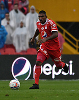 BOGOTA - COLOMBIA - 04 – 03 - 2018: Elkin Blanco, jugador de America de Cali, en acción, durante partido de la fecha 6 entre Millonarios y America de Cali, por la Liga Aguila I 2018, jugado en el estadio Nemesio Camacho El Campin de la ciudad de Bogota. / Elkin Blanco, player of America de Cali, in action during a match of the 6th date between Millonarios and America de Cali, for the Liga Aguila I 2018 played at the Nemesio Camacho El Campin Stadium in Bogota city, Photo: VizzorImage / Luis Ramirez / Staff.
