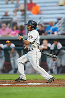 Tri-City ValleyCats second baseman Rodrigo Ayarza (4) at bat during a game against the Auburn Doubledays on August 25, 2016 at Falcon Park in Auburn, New York.  Tri-City defeated Auburn 4-3.  (Mike Janes/Four Seam Images)