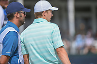Jordan Spieth (USA) and his caddie Michael Greller look over the green on 18 during round 4 of the Houston Open, Golf Club of Houston, Houston, Texas. 4/1/2018.<br /> Picture: Golffile | Ken Murray<br /> <br /> <br /> All photo usage must carry mandatory copyright credit (&copy; Golffile | Ken Murray)