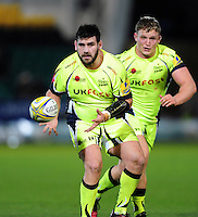Rob Webber of Sale Sharks receives the ball. Aviva Premiership match, between Northampton Saints and Sale Sharks on December 23, 2016 at Franklin's Gardens in Northampton, England. Photo by: Patrick Khachfe / JMP