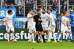 11.05.2019, PreZero Dual Arena, Sinsheim, GER, 1. FBL, TSG 1899 Hoffenheim vs. SV Werder Bremen, <br /> <br /> DFL REGULATIONS PROHIBIT ANY USE OF PHOTOGRAPHS AS IMAGE SEQUENCES AND/OR QUASI-VIDEO.<br /> <br /> im Bild: Claudio Pizarro (SV Werder Bremen #4) diskutiert mit Schiedsrichter Bastian Dankert mit dabei Marco Friedl (SV Werder Bremen #32), Kevin M&ouml;hwald / Moehwald / Mohwald (SV Werder Bremen #6)<br /> <br /> Foto &copy; nordphoto / Fabisch