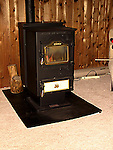 Wood chip burning heating stove