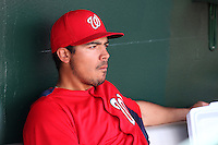 Washington Nationals third baseman Anthony Rendon #6 in the dugout before a spring training game against the Houston Astros at Osceola County Stadium on March 3, 2012 in Kissimmee, Florida.  Houston defeated Washington 3-1.  (Mike Janes/Four Seam Images)