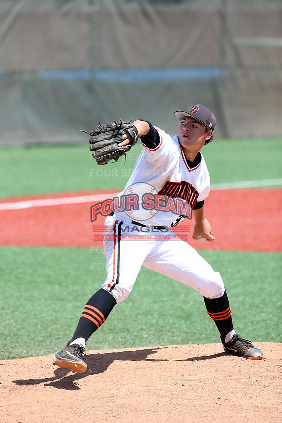 Nick Pratto (32) of the Huntington Beach High School Oilers pitches against the Damien High School Spartans at Mater Dei High School on April 18, 2017 in Santa Ana, California. (Larry Goren/Four Seam Images)