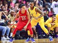 Washington, DC - August 17, 2018: Washington Mystics guard Kristi Toliver (20) guarded by Los Angeles Sparks guard Riquna Williams (2) during game between the Washington Mystics and Los Angeles  Sparks at the Capital One Arena in Washington, DC. (Photo by Phil Peters/Media Images International)
