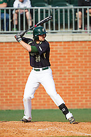 Corbin Shive (33) of the Charlotte 49ers at bat against the Canisius Golden Griffins at Hayes Stadium on February 23, 2014 in Charlotte, North Carolina.  The Golden Griffins defeated the 49ers 10-1.  (Brian Westerholt/Four Seam Images)