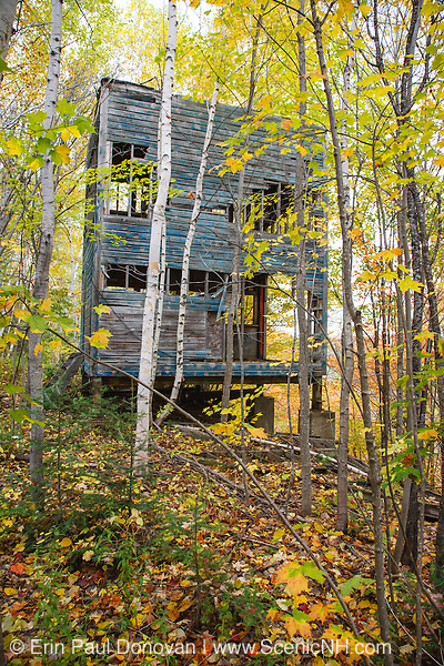 Abandoned building at Nansen Ski Jump in Milan New Hampshire USA. This jump was constructed in 1936 and in 1938 Olympic Trials were held here. The jump was closed in 1988.