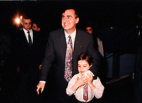 Montreal (QC) CANADA file photo - 1995 - Lucien Bouchard and his child