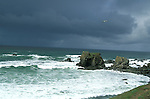 Looking at the Pacific Ocean on a stormy day, Mendocino, California