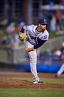 Cedar Rapids Kernels relief pitcher Alex Robinson (36) delivers a pitch during a game against the Dayton Dragons on May 10, 2017 at Fifth Third Field in Dayton, Ohio.  Cedar Rapids defeated Dayton 6-5 in ten innings.  (Mike Janes/Four Seam Images)