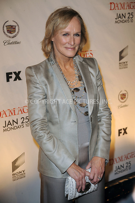 WWW.ACEPIXS.COM . . . . . ....January 19 2010, New York City....Actress Glenn Close arriving at the Season 3 premiere of 'Damages' at the AXA Equitable Center on January 19, 2010 in New York City.....Please byline: KRISTIN CALLAHAN - ACEPIXS.COM.. . . . . . ..Ace Pictures, Inc:  ..tel: (212) 243 8787 or (646) 769 0430..e-mail: info@acepixs.com..web: http://www.acepixs.com