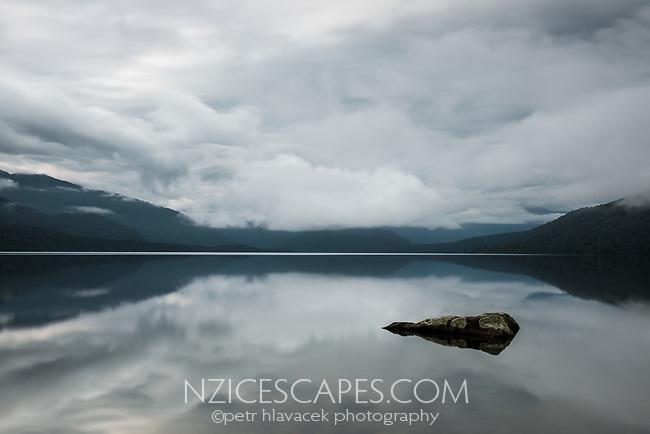 Moody scene at Lake Kaniere near Hokitika, West Coast, South Westland, South Island, New Zealand, NZ