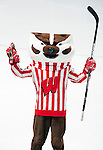 Wisconsin Badgers mascot Bucky Badger skates during a photo shoot. This was a staged action shot. (Photo by David Stluka)