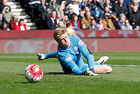 Stoke City's Jakob Haugaard makes a save during the Barclays Premier League match between Stoke City and Swansea City played at Britannia Stadium, Stoke on April 2nd 2016