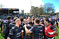 The Bath Rugby team celebrate the win after the match. European Rugby Challenge Cup Quarter Final, between Bath Rugby and CA Brive on April 1, 2017 at the Recreation Ground in Bath, England. Photo by: Patrick Khachfe / Onside Images