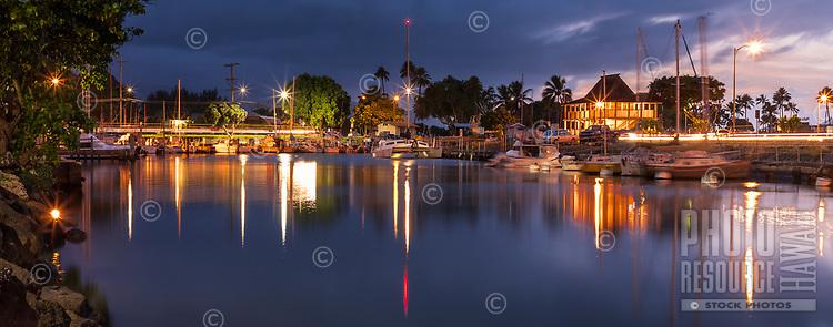 Evening scene at Hale'iwa Small Boat Harbor, North Shore, O'ahu.