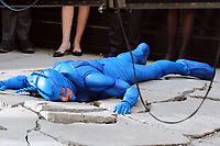 www.acepixs.com<br /> <br /> April 3 2017, New York City<br /> <br /> Actor Peter Serafinowicz was in costume on the set of the new movie 'The Tick' on April 3 2017 in New York City<br /> <br /> By Line: Zelig Shaul/ACE Pictures<br /> <br /> <br /> ACE Pictures Inc<br /> Tel: 6467670430<br /> Email: info@acepixs.com<br /> www.acepixs.com