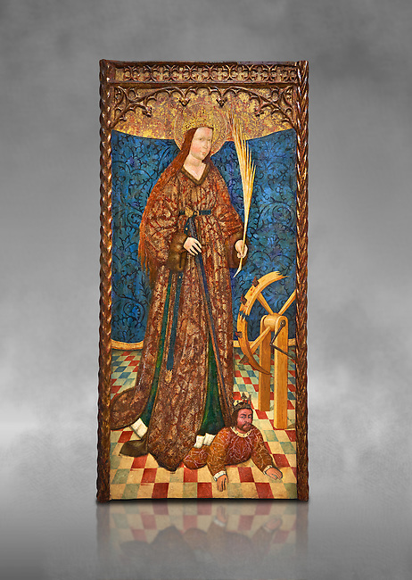 Gothic altarpiece of Saint Catarina (Catherine), 3rd quarter of the 15th century, tempera and gold leaf on for wood.  National Museum of Catalan Art, Barcelona, Spain, inv no: MNAC   114746-7. Against a grey art background.
