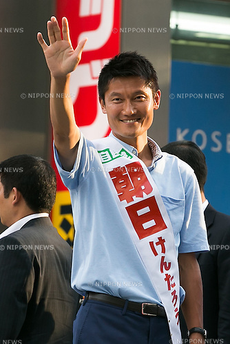 Kentaro Asahi, former beach volleyball star and Liberal Democratic Party candidate, greets supporters during a campaign event in Shibuya on July 3, 2016, Tokyo, Japan. Shinzo Abe, leader of the Liberal Democratic Party and Prime Minister of Japan, came to support Asahi's campaign for July 10th's House of Councillors elections. (Photo by Rodrigo Reyes Marin/AFLO)