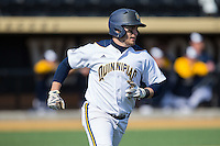 Joseph Burns (4) of the Quinnipiac Bobcats hustles down the first base line against the Radford Highlanders at David F. Couch Ballpark on March 4, 2017 in Winston-Salem, North Carolina.  The Highlanders defeated the Bobcats 4-0.  (Brian Westerholt/Four Seam Images)