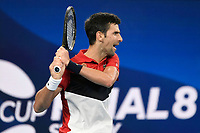 11th January 2020; Sydney Olympic Park Tennis Centre, Sydney, New South Wales, Australia; ATP Cup Australia, Sydney, Day 9; Serbia versus Russia;  Novak Djokovic versus Daniil Medvedev; Novak Djokovic of Serbia watches his shot against Daniil Medvedev of Russia - Editorial Use