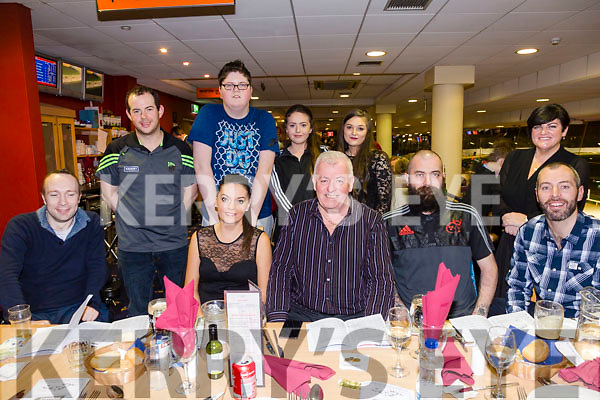 Charlie Nagel, Ballybunion celebrates his 60th Birthday with family and friends at the Kingdom Greyhound Stadium Front l-r Sean Fennell, Louise Nagel, Charlie Nagel, David Nagel, Derek Nagel, Back l-r Sean Fennell, Davin Godfrey, Leah Nagel, Aileen Heffernan, Christine Fernane