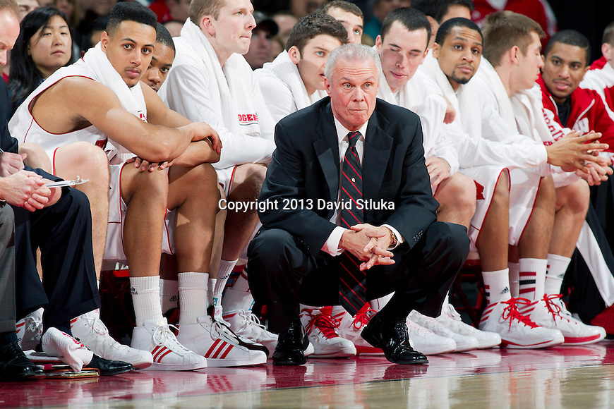 Wisconsin Badgers Head Coach Bo Ryan looks on during an NCAA Big Ten Conference college basketball game against the Illinois Fighting Illini Saturday, January 12, 2013 in Madison, Wis. The Badgers won 74-51. (Photo by David Stluka)