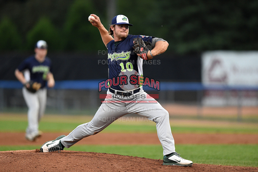 Vermont Lake Monsters pitcher Jordan Schwartz (10) delivers a pitch during a game against the Jamestown Jammers on July 12, 2014 at Russell Diethrick Park in Jamestown, New York.  Jamestown defeated Vermont 3-2.  (Mike Janes/Four Seam Images)