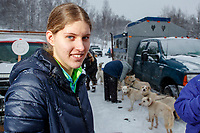 Anna Stephan portrait the start of the 2018 Junior Iditarod Sled Dog Race on Knik Lake in Southcentral, Alaska.  Saturday February 24, 2018<br /> <br /> Photo by Jeff Schultz/SchultzPhoto.com  (C) 2018  ALL RIGHTS RESERVED