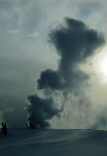 Fountain Geyser erupts in the late afternoon sun during winter at Yellowstone National Park,Wyoming