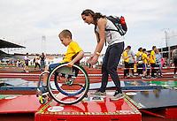 Nederland  Amsterdam  2016. De Johan Cruyff Foundation dag in Amsterdam. Een sportdag voor jongeren mét en zonder beperking in het Olympisch Stadion. Parcours met hindernissen.Foto Berlinda van Dam / Hollandse Hoogte